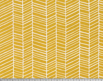 One Yard Cut - Herringbone in Straw - Basic Colors by Joel Dewberry for Free Spirit -  Quilters Cotton - Fabric by the Yard