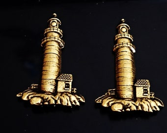 3 pcs Vintage Rare Pewter Gold ox LIGHT HOUSE Jewelry Findings Made in USA /M4