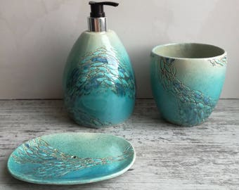 """Set for bathroom """"fish"""". pottery in the interior.Ceramics And Pottery."""