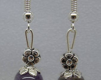 Amethyst, migraines, 8 mm beads and Tibetan Silver Flower Earrings