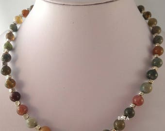 Indian Agate Necklace 8 mm Tibetan silver flowers
