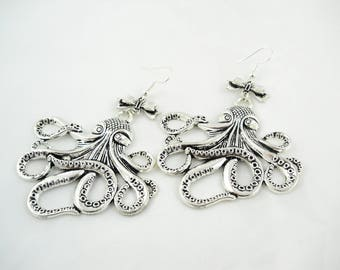 Steampunk - Octopus squid Octopus earrings