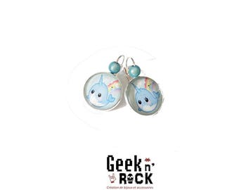 Kawaii - cute narwhal earrings