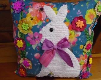 Bunny Pillow,Pillow,Easter Pillow,Handmade Pillow,Chenille Bunny,Floral Pillow,Bunnies,Pillows,Throw Pillow,Spring Pillow