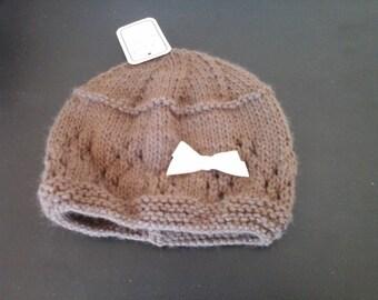 Brown newborn baby bonnet