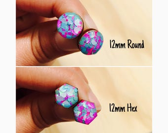 12mm Candy Pop Glitter Resin/Bamboo Stud Earrings • Round • Hexagon • Surgical Steel • Hypoallergenic • Glossy • Pink • Purple • Blue •
