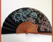 Abanico artesanal Regalo día madre Abanico negro calado de madera Abanico pieza única Abanico flamenco Abanico para bodas Abanicos españoles