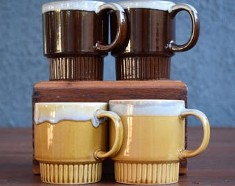 Brown or gold vintage stacking mugs; set of two dripware mugs