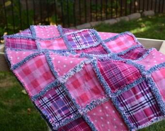 Blue Jean Baby - Girl Rag Quilt - Baby Blanket