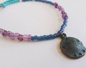 Beaded Anklet, Sandollar Beach Charm Rustic Ankle Bracelet, Body Jewelry, Aqua Blue Seed Beads Anklet, Turquoise Purple Anklet, Starfish