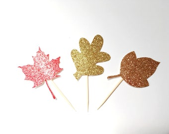 Fall leaves cupcake toppers