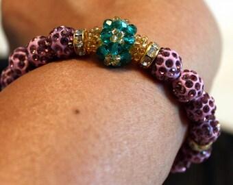 Cute Czech crystal disco-ball beaded shamballa bracelet; purple, blue, beadweaving, handmade, beautiful, casual wear, party wear