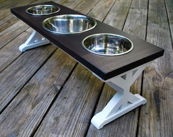Dog Bowl Stand - Medium - 3 Bowl - Three Bowl - Farmhouse Table - Elevated Dog Feeder - Raised Dog Bowl - Elevated Dog Bow - Dog Food Stand