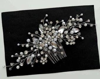 Swarowski Bridal hair comb,Crystals Bridal Wedding, Headband,Hairpiece Bridal Hair Vine,Wedding hair-vine,pearl hair vine 256