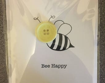 Bee happy button card