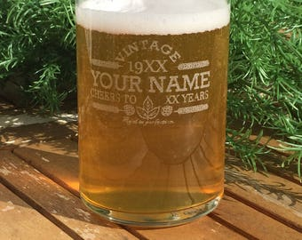 Beer Can Glasses-Engraved-Vintage-Personalized-Cheers-Aged To Perfection-Birthday Gift-(Set of 18)