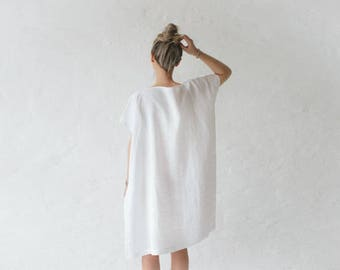 LINEN dress OVERSIZED white LOOSE tunic dress