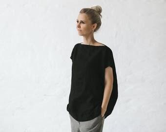 LINEN shirt OVERSIZED black LOOSE tunic top tshirt