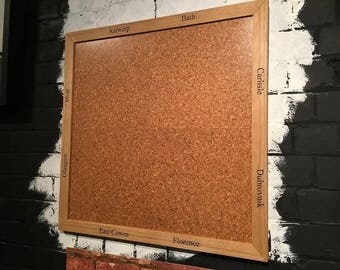 solid oak frame cork board with laser engraved black inlay fantastic gift birthday