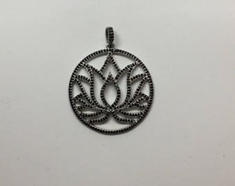 Pave black spinal sterling silver  charm