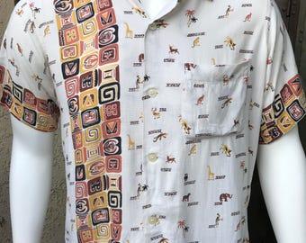 1950's Arrow Hawaiian Tiki Shirt/ Arrow Cluett, Peabody & Co. Inc./ 50's Vintage Hawaiian Shirt Size L/ Made in the USA