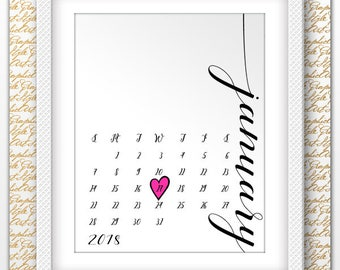 Baby Announcement Pregnancy Due Date Reveal Calendar Custom Due Date Calendar Calendar with Heart Announcement Pregnancy Reveal Calendar JPG