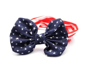 American Flag Baby Headband,American Flag Turban, Baby Headband, Newborn Headband, Girls Bow Headband, 4th July Independence Day