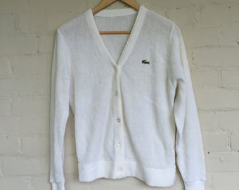 Lacoste white cardigan button-up sweater