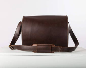 Mens leather messenger bag Leather Laptop Satchel Bag  - Niche Lane Ryton Coffee