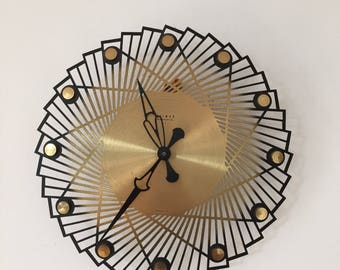 mid century 50u0027s 60u0027s sunburst clock of company weimar made