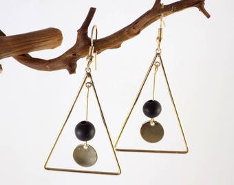 Golden Triangle Earrings Black Wood Bead Round Sequin