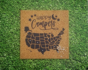 Happy Campers - Gray - Pinnable Cork Map of the USA - United States Travel Map / Bulletin Board / RV Camping Tracker