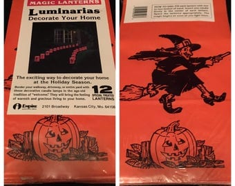 12 vintage Halloween luminarias in original  package candle tea lite