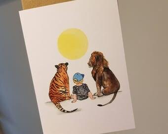 A6 Tiger, boy & lion card