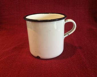 French Enamel Tea or Coffee Mug circa 1950