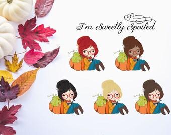Fall Girls, Fall Stickers, Autumn Stickers, Seasonal Stickers, Reading Stickers, Study Stickers, Planner Girl, Pumpkin Sticker, Pumpkins