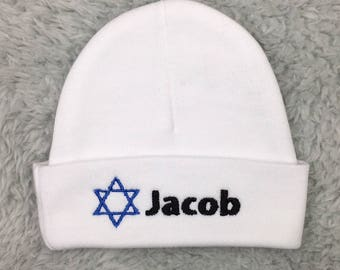 Jewish baby gift etsy personalized baby hat with star of david preemie hat newborn hat nicu clothes negle Image collections