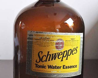 Vintage Schweppes Tonic Water Essence Amber 4L (1 Gallon) Jug / Brown Jug With Label and Metal Screw Cap / Schweppes Essence Bottle