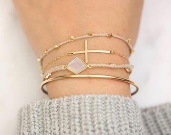 Gold Cross Bracelets • Cross Bracelets • Sideway Cross Bracelets • Minimalist Bracelet • Modern Bracelet • Simple Bracelet•Layering Bracelet