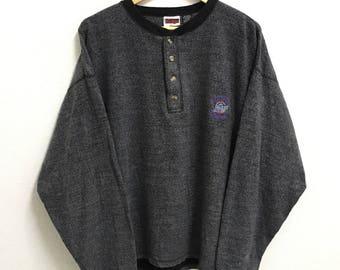 RARE!!! NBA Utah Jazz Basketball Club Small Logo Embroidery Crew Neck Button Grey Colour Sweatshirts Hip Hop Swag L Size