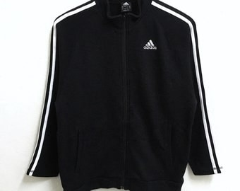 RARE!!! Adidas Equipment Small Logo Embroidery 3 Stripes Black Colour Zipper Sweaters Hip Hop Swag 150 (Boys) Size