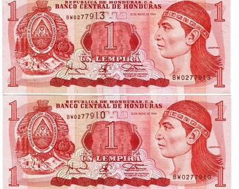 Six (6) 1994 One Limpera Bank Notes From Honduras