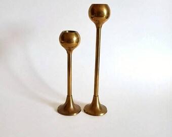 Brass Globe Candlestick Holders