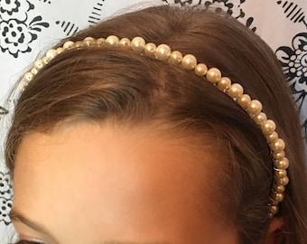Ivory /cream pearl bead headband, bridal headband, wedding hair piece, bridesmaid  hair accessories, flower girl accessories, alice band
