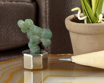 Miniature dollhouse green grape agate mineral display, 1:12.  Curiosity, natural history