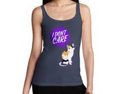 I Dont Care Cat Womens Funny  Tank Top  100 Cotton Fashion Tank Top