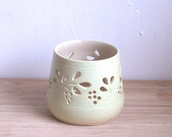 Pottery candleholder. Ceramic Tea light Holder.   Wheel thrown pottery candle holder. Frosted Melon ceramic luminary.