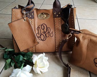 Monogrammed Purse and cosmetic Grommet bag 2pc set in Camel - Personalized handbags