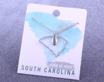 Customizable! State of Mine: South Carolina Football Silver Necklace - Great Football Gift!