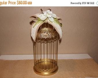 ON SALE Wedding Gold Birdcage Cardholder / Rustic Wedding Birdcage / Wedding Cardholder